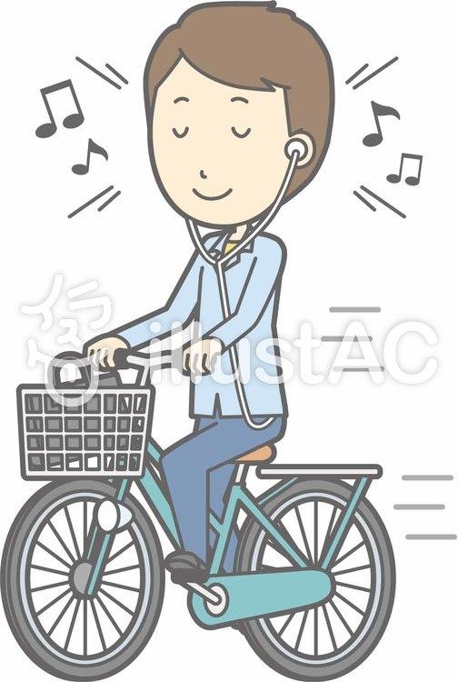 自転車男性-自転車音楽-全身のイラスト