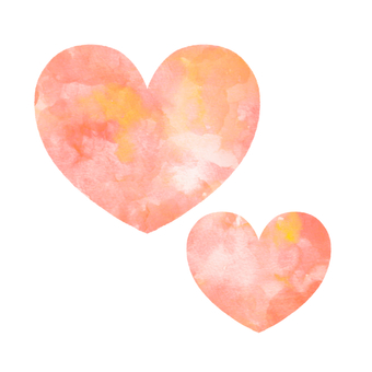 Two cute hearts (watercolor style)