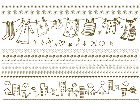 Handwritten line material collection set girly cute