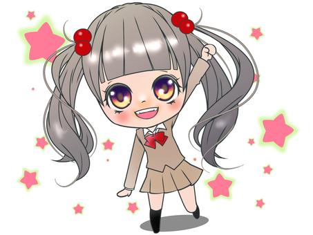Uniform girl star background (beige)