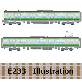 Commuter train E233 series Yokohama line illustration
