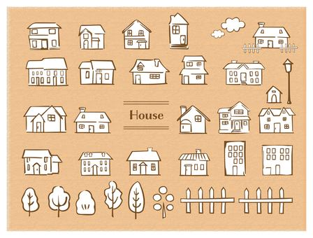Hand-painted style house brown wire White background