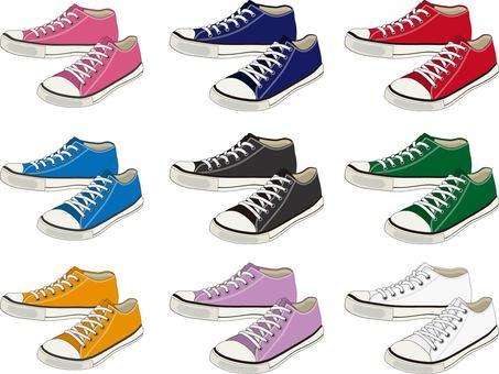 Low cut sneakers color set