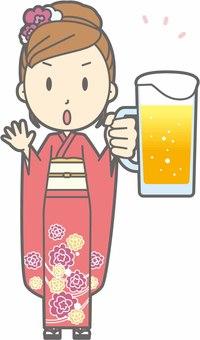 Kimono female a - beer Caution - whole body