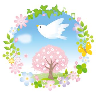 White little bird and cherry tree