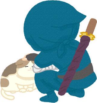 A ninja stroking a cat