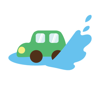 Car running a puddle
