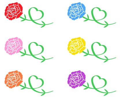 Carnation stem Heart color set