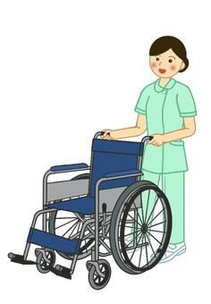 Nursing, medical scene 3 wheelchair and nurse (1)