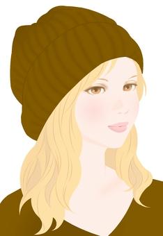Autumn color knit cap brown