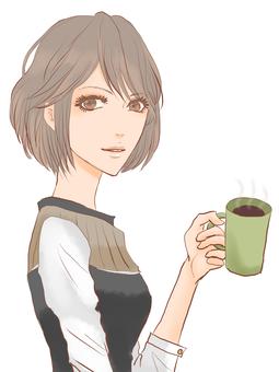 一个女人喝咖啡0001