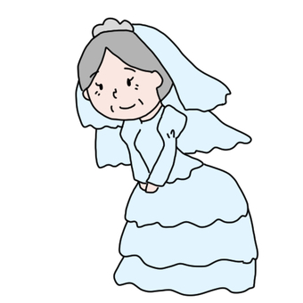 Grandmother in a wedding dress