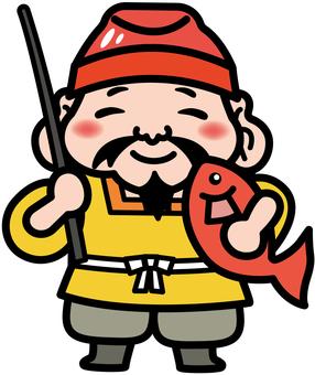 Illustration of Seven Lucky God (Ebisu Tian)