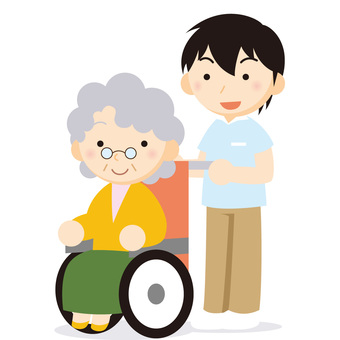 Women with wheelchairs and caregivers