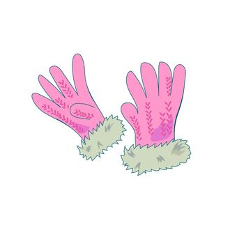 Pink gloves with fur