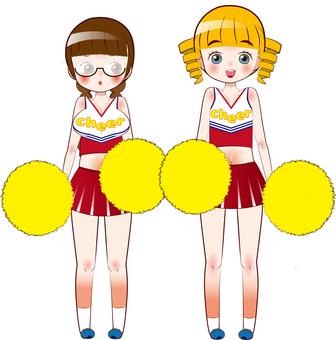 Two people cheerleader