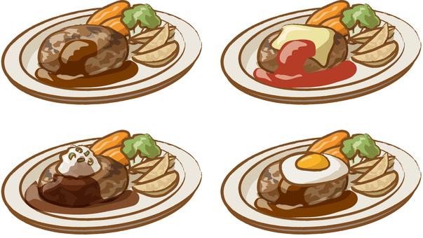 4 types of hamburger steak