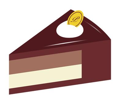 Chocolate mousse cake cut