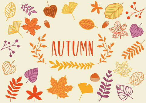 Autumn plant hand-painted illustration set