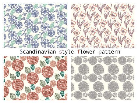 Scandinavian style floral pattern set.01