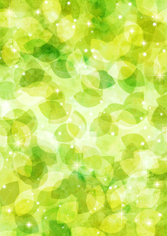 Watercolor style fresh green leaves one side glitter background