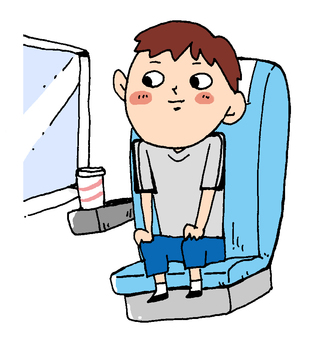 A boy riding alone on a limited express train