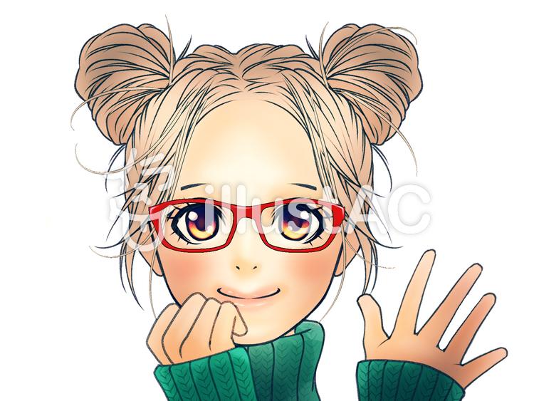 ツインお団子ヘアの女の子眼鏡イラスト No 1020873無料イラスト