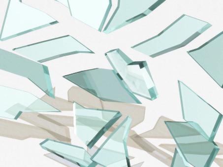 Splattered broken glass