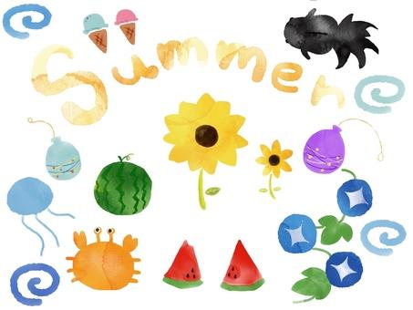 수채화 풍 여름 세트