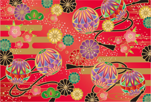 Japanese pattern card red