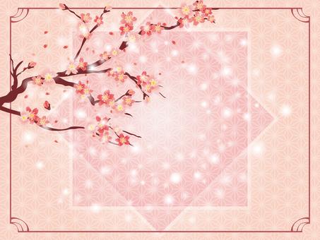 ポップな桜の和柄フレーム背景素材