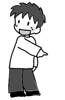A pointing boy