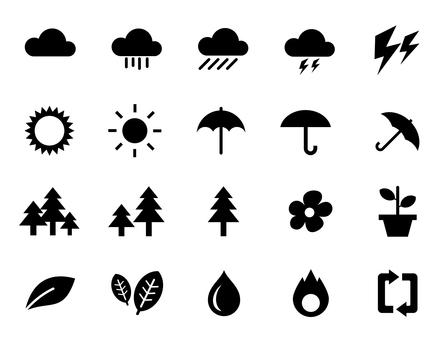 날씨와 자연 아이콘 세트