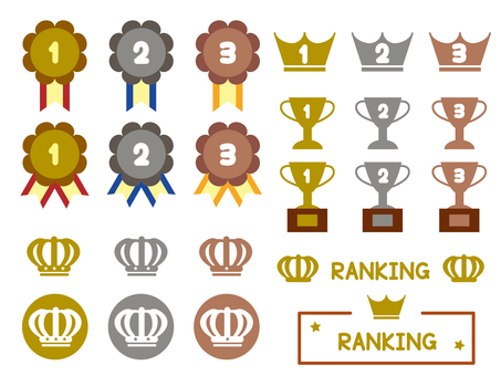 Cute ranking icon set