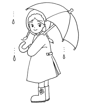 Rainy day girl monochrome