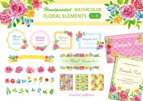 Watercolor flower luxury frame set 6