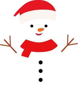 Snowman wearing a santa cap