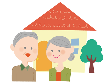 Elderly couple and house