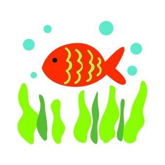 Aquatic plants and red fish