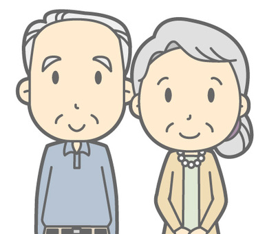 Elderly couple - stand up - bust