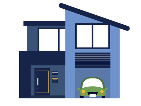 House and car with blue garage