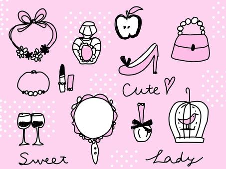 Adult women style hand-drawn illustrations