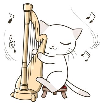 ハープを弾く猫