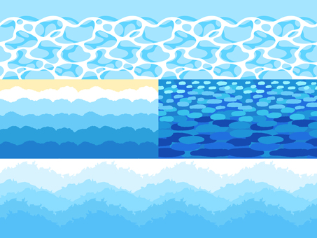 Horizontal pattern of water, coast, and waves