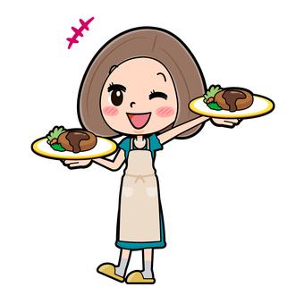 Green dress young woman cooking waitress