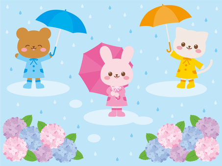On the day of rainy season with animal