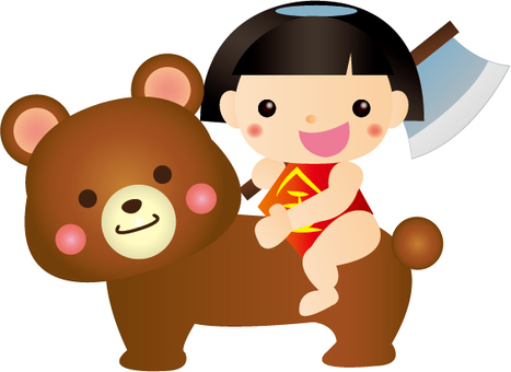 Kintaro and a bear illustration