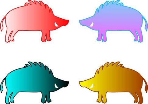 Wild boar silhouette 02