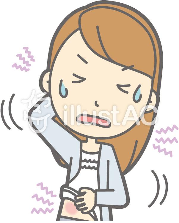 女子大生a-湿疹-バストのイラスト