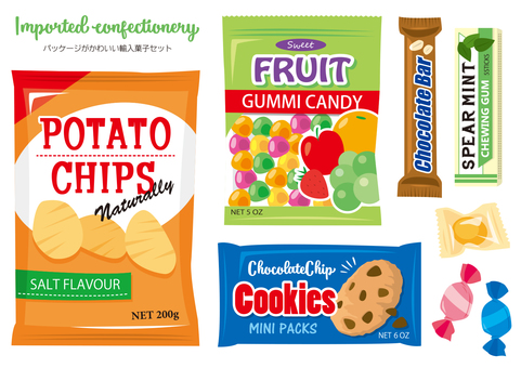 Import confectionery illustration material set